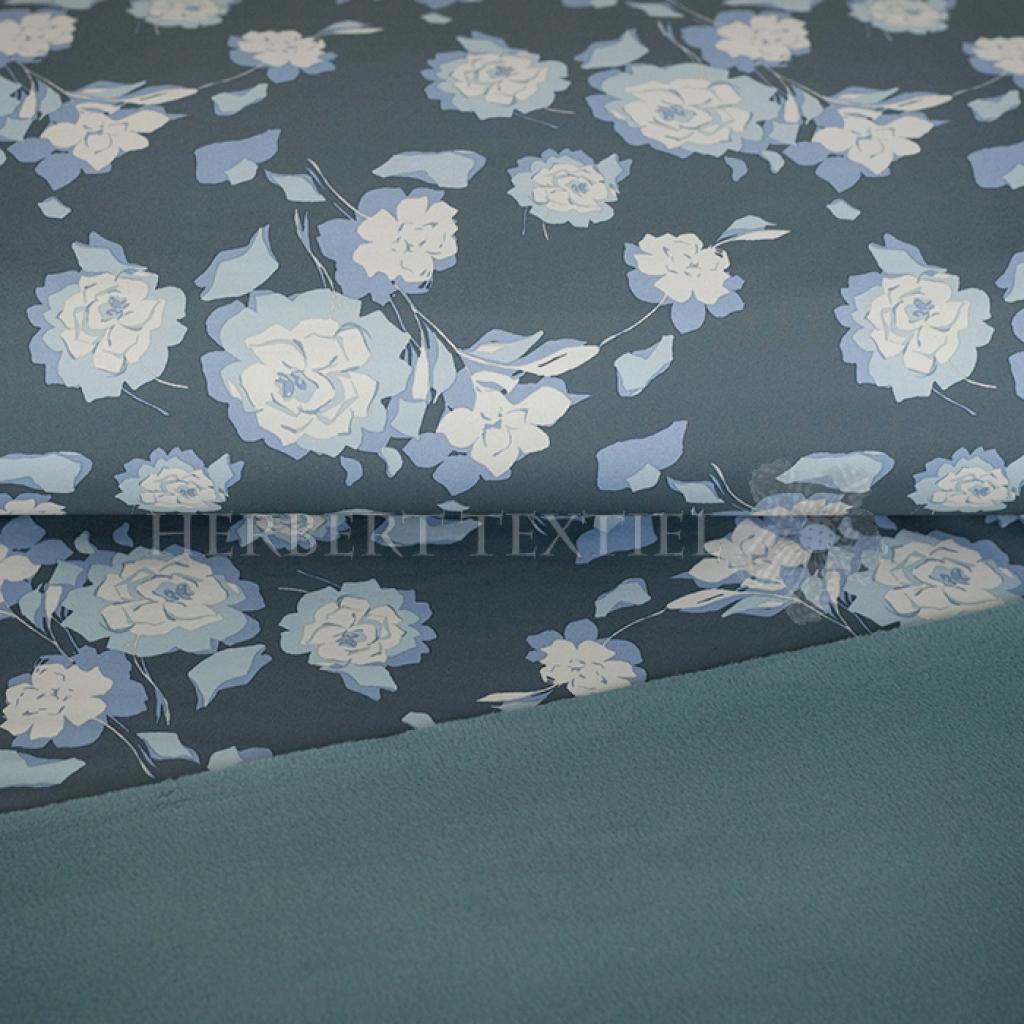 Softshell Pretty Flowers Grey Blue 690038 3004 Herbert Textil