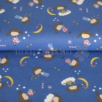 Flanel printed tired children blue 130297-3004