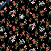 Wachstuch (Coated Cotton) flowers black C7654-007