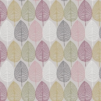 Tassenstof Cotton nordic leaves light grey 06437-001