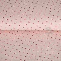 Cotton Hydrofieldoek Mousseline double gauze little hearts lachs 05448-003