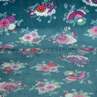 Wellness Fleece flowers petrol 128502-3006