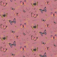 French Terry Digitalprint pretty butterflies dark old rose 06689-005
