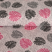 Cotton Hydrofieldoek Mousseline double gauze palm leaves rose pink 05423-005