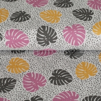 Cotton Hydrofieldoek Mousseline double gauze palm leaves grey pink 05423-002