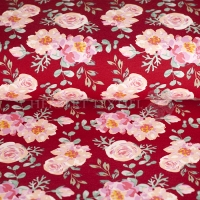French Terry summer flower roses bordeaux 4346-618
