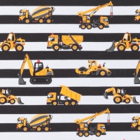 Jersey Printed stripes contruction vehicles black white 64414