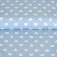Kiko Spring cotton hearts white light blue 0353-09
