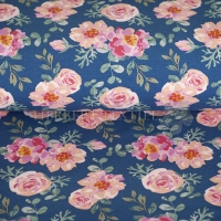 French Terry summer flower roses dark blue 4346-309