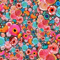 French Terry Digitalprint flower power turquise pink 06687-001