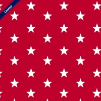 Wachstuch (Coated Cotton) stars red C4954-004