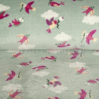 Wellness Fleece birds light blue grey 128501-3004