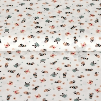 Cotton printed little animals white KC0353-050