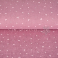 Cotton Hydrofieldoek Mousseline Double gauze hearts pink 04667-002