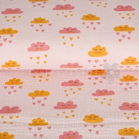 Cotton Mousseline Double gauze clouds rose 05421-003