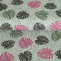 Cotton Hydrofieldoek Mousseline double gauze palm leaves mint pink 05423-006