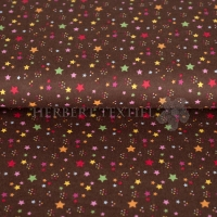 Flanel printed multi stars brown 130431-3002