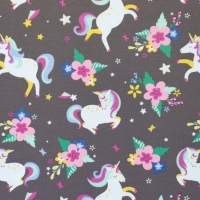 Kids Jersey printed unicorn flowers taupe 62187