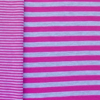 Jersey double stripes fuchsia-grey 60659