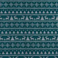 Jersey Printed Knitted Winter Wonderland Petrol 63345