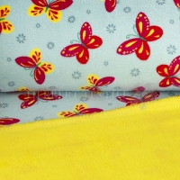 Cuddle Fleece print butterflies mint, uni yellow KC4013-041