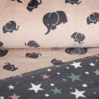 Wellness Double Fleece elephants and stars rose KC4009-011