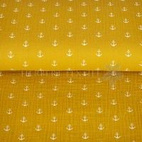 Cotton Hydrofieldoek Mousseline Double gauze anchor ocre 03598-005