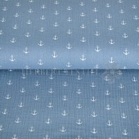 Cotton Hydrofieldoek Mousseline Double gauze anchor dusty blue 03598-008