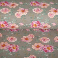 French Terry summer flower roses taupe 4346-653