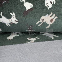 Cuddle Fleece print dogs dark green, uni grey KC4013-021