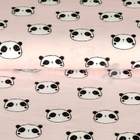 Flanel printed panda light rose 07687-010