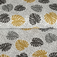 Cotton Hydrofieldoek Mousseline double gauze palm leaves white ocre 05423-004