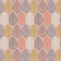 Tassenstof Cotton nordic leaves light rose 06437-004