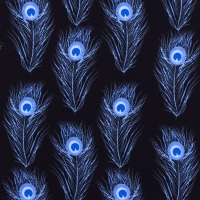 Jersey Printed Peacock Feather Cobalt 63358