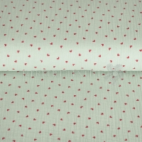 Cotton Hydrofieldoek Mousseline double gauze little hearts mint 05448-002