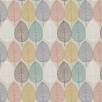 Tassenstof Cotton nordic leaves ecru 06437-002