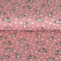 Flanel printed bunny rose 07688-001