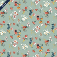 Wachstuch (Coated Cotton) flowers old green C7654-002