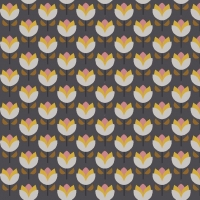Tassenstof Cotton jolly tulips grey 06435-003