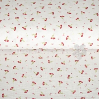 Cotton Hydrofieldoek Mousseline Double gauze flowers white 01857-001