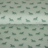 Cotton Mousseline double gauze unicorn green 04668-004