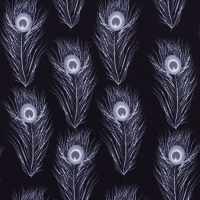 Jersey Printed Peacock Feather Dark Grey 63359