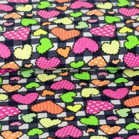 Kids Jersey Neon hearts & block print black/white 4937-1107
