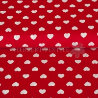 Kiko Spring cotton hearts white red 0353-11