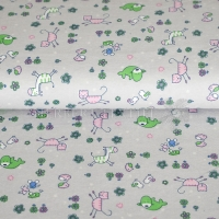 Flanel printed funny animals grey 130430-3004