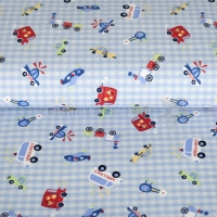 Flanel printed vehicles light blue 130296-3001