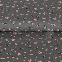 Cotton printed little animals grey KC0353-065