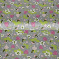 Cotton strawberry garden grey 05677-004