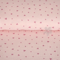 Cotton Mousseline Double gauze hearts rose 04667-003