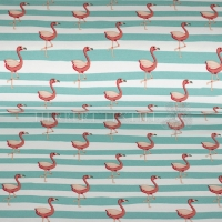 French Terry dancing flamingo mint 06023-001